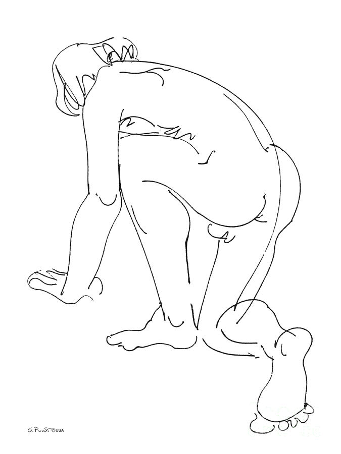 Male Drawing - Nude-male-art-20 by Gordon Punt