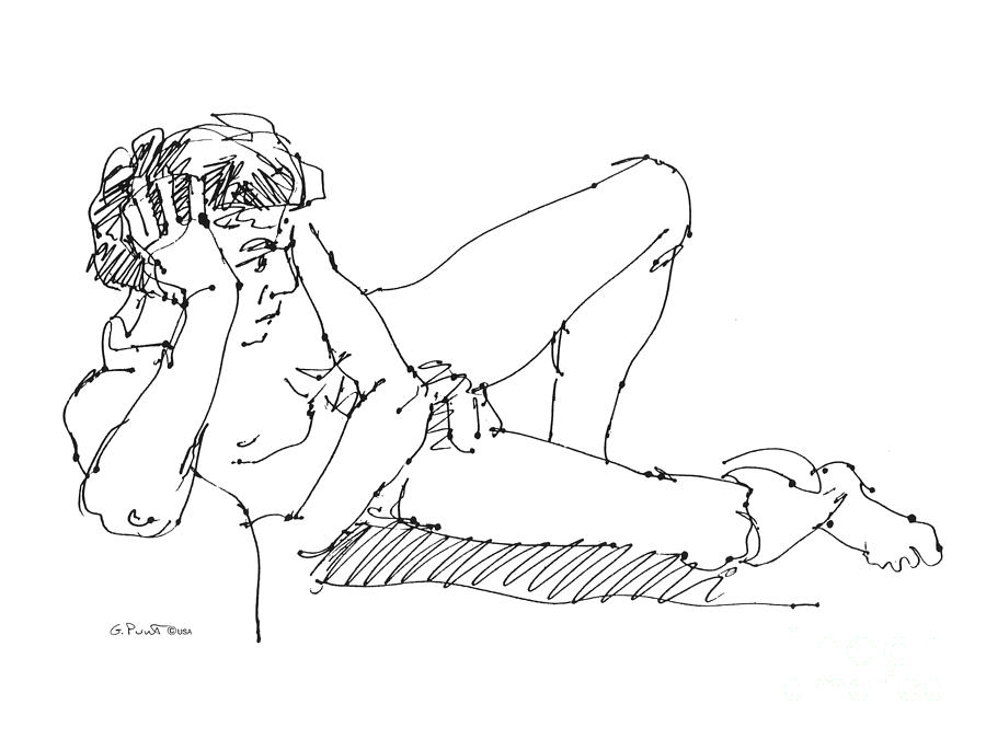 Male Drawing - Nude Male Drawings 5 by Gordon Punt