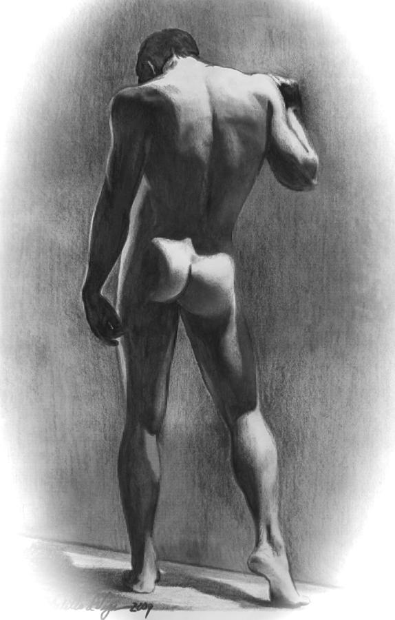 Male Drawing - Nude Man In Contemplation Drawing by Karon Melillo DeVega