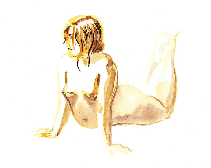 Nude Painting - Nude Model Gesture Iv by Irina Sztukowski