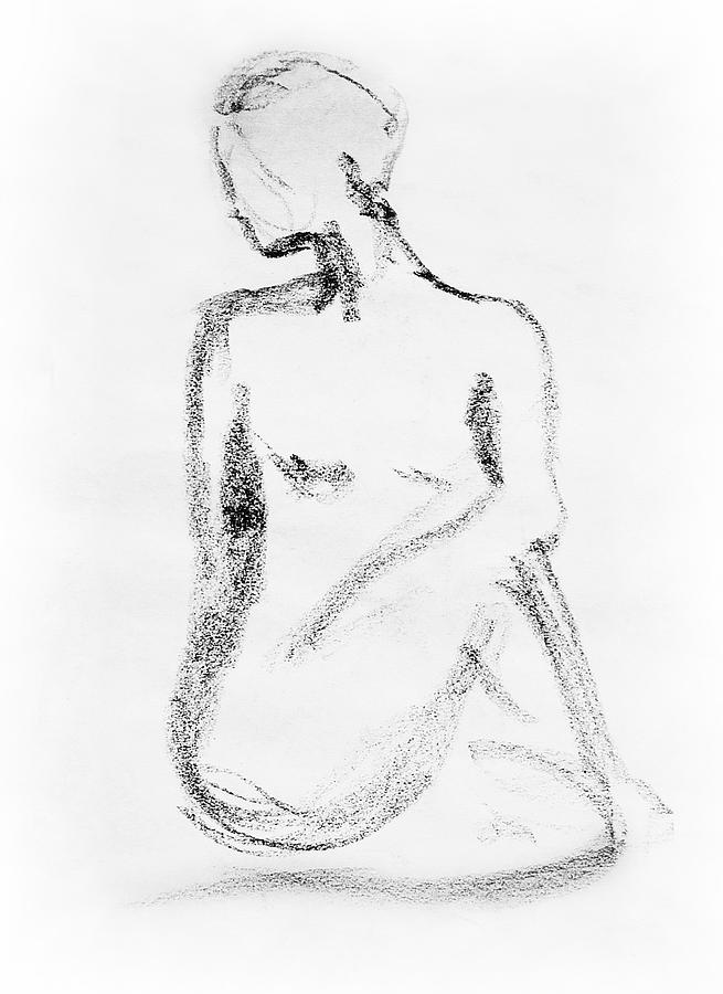 Nude Drawing - Nude Model Gesture Vi by Irina Sztukowski