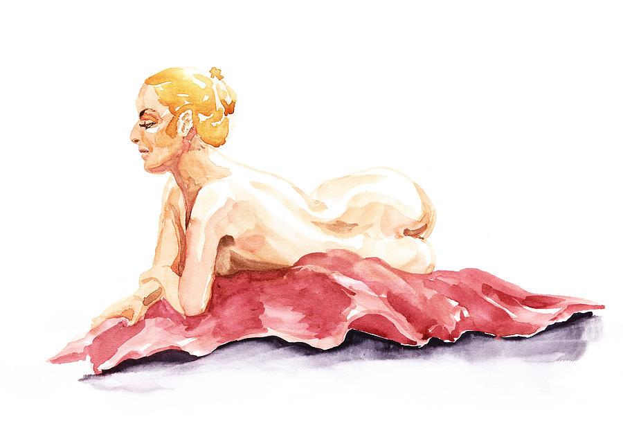 Nude Painting - Nude Model Gesture Xiv Resting On Red by Irina Sztukowski