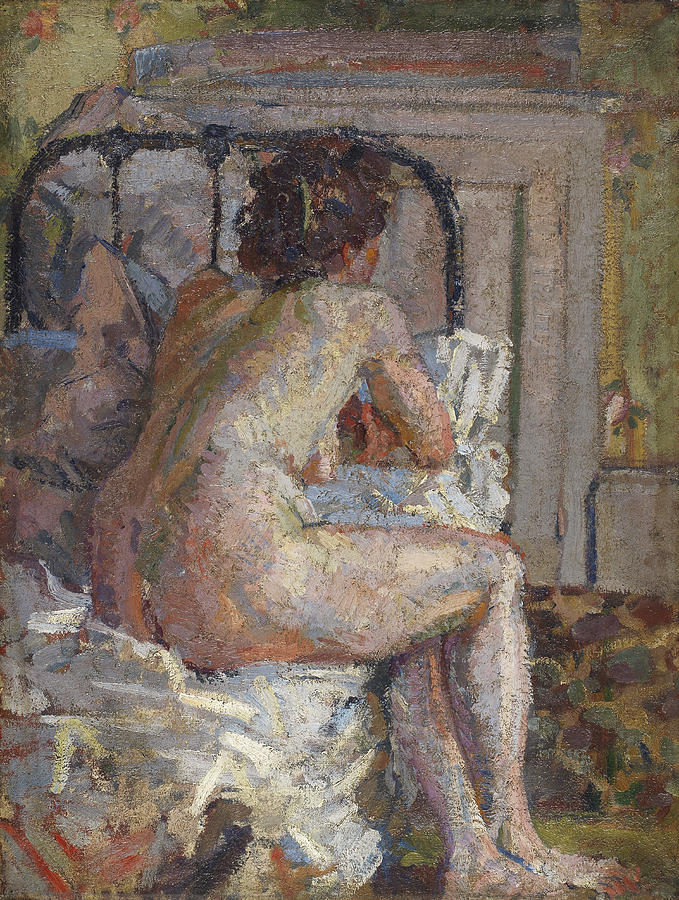 Camden Town Group Painting - Nude On A Bed, C.1914 by Harold Gilman