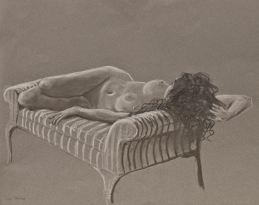 Monochrome Drawing - Nude On Striped Sofa by Don Perino