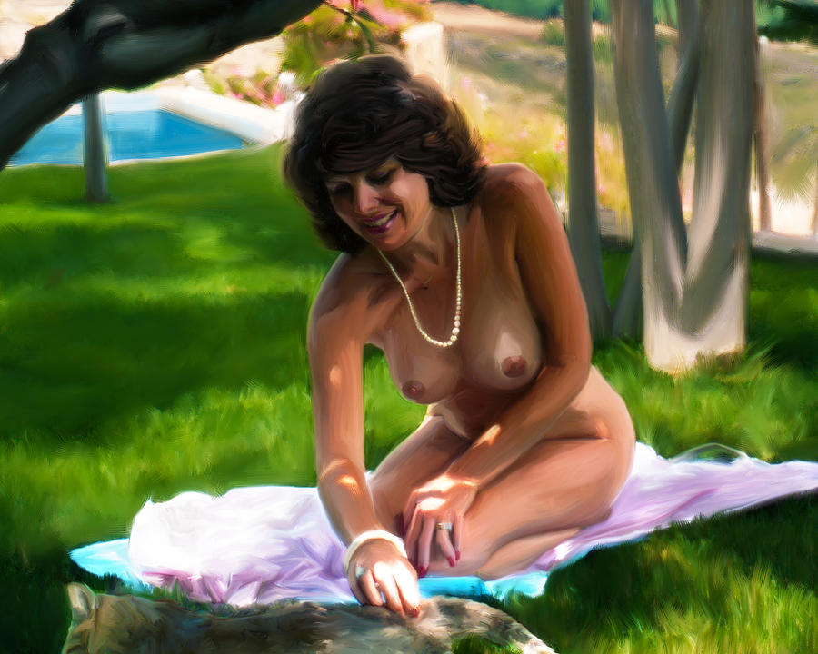 Erotic Female Painting - Nude Picnic 2 by Shelby
