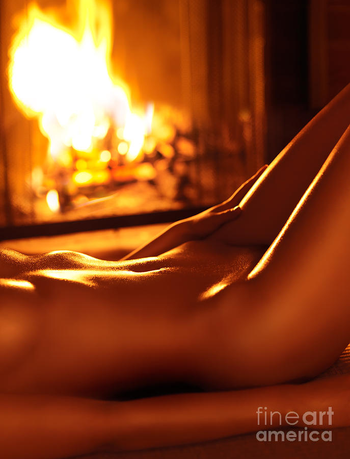Nude Shiny Woman Body In Front Of Fireplace Photograph by Oleksiy ...
