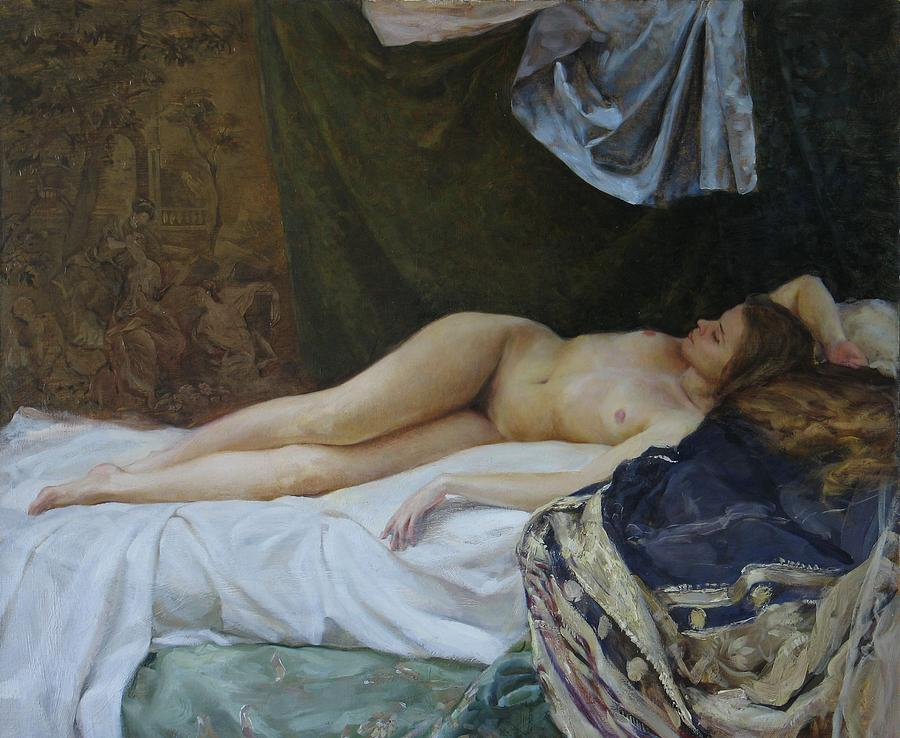 Nude Painting - Nude With Tapestry by Korobkin Anatoly