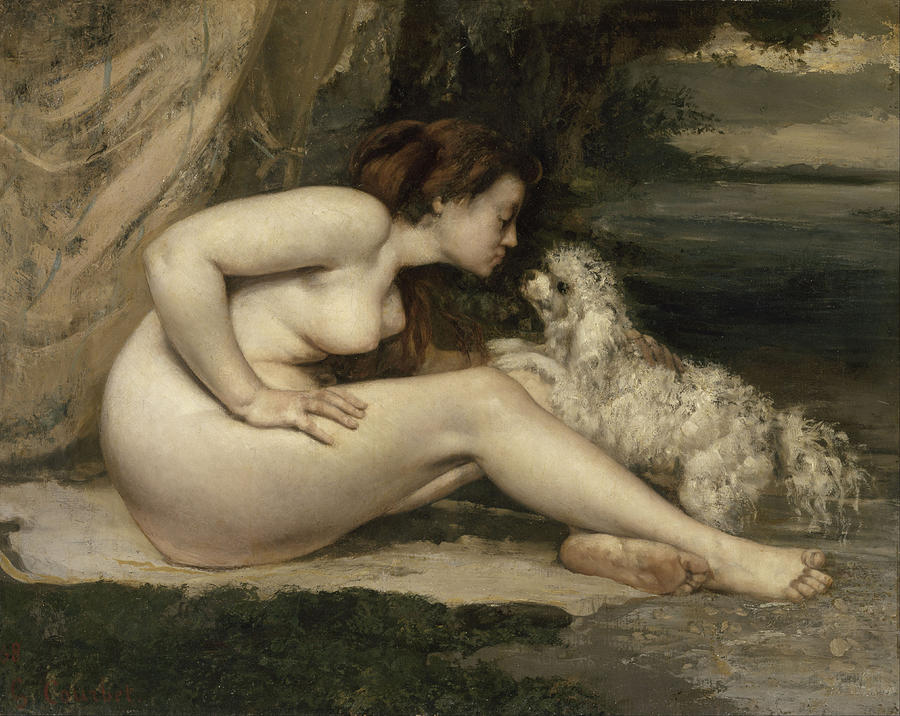 Gustave Courbet Painting - Nude Woman with a Dog by Gustave Courbet