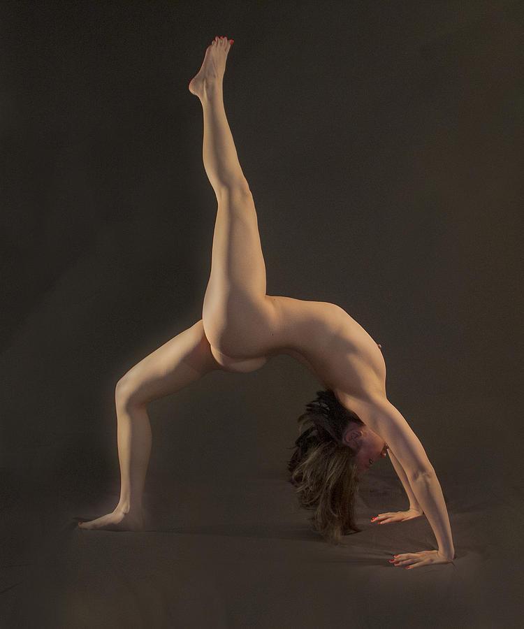 Yoga nude wheel pose