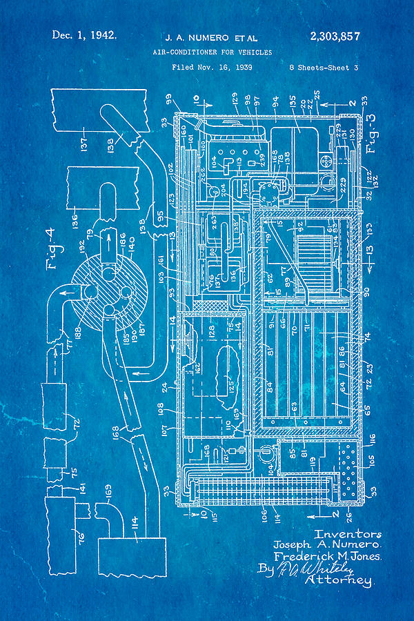 Numero car air conditioning patent art 1942 blueprint photograph by automotive photograph numero car air conditioning patent art 1942 blueprint by ian monk malvernweather Gallery