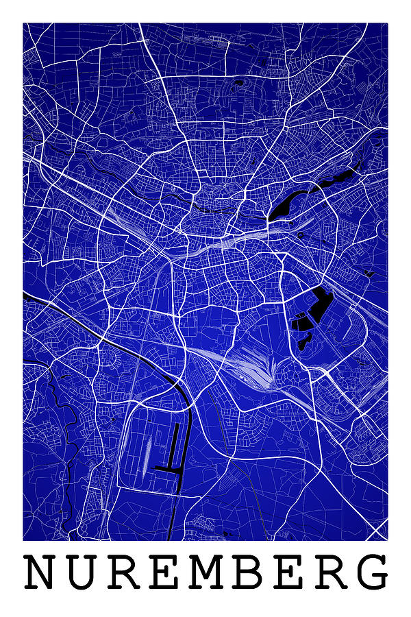 Nuremberg Street Map - Nuremberg Germany Road Map Art On ...