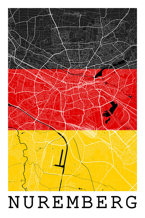 Nuremberg Street Map - Nuremberg Germany Road Map Art On Flag ...