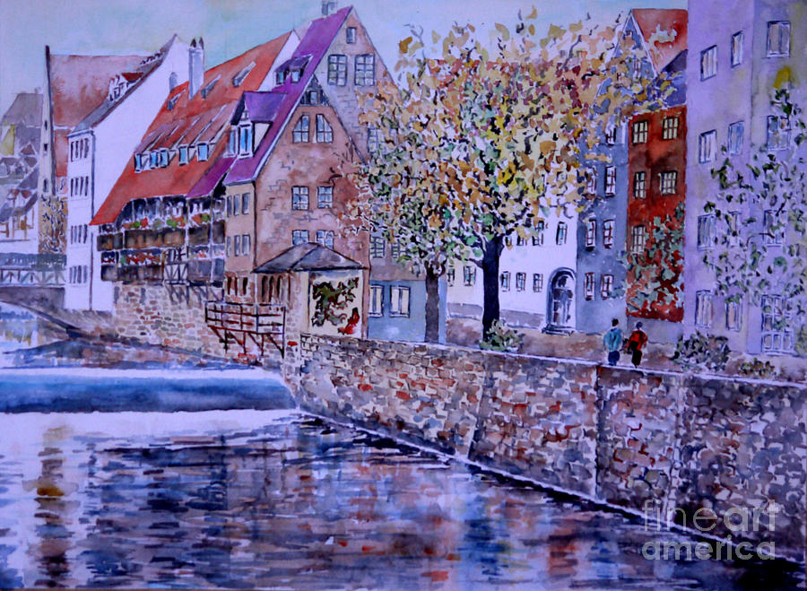 Watercolour Painting - Nuremberg Walk By The Riverside by Alfred Motzer