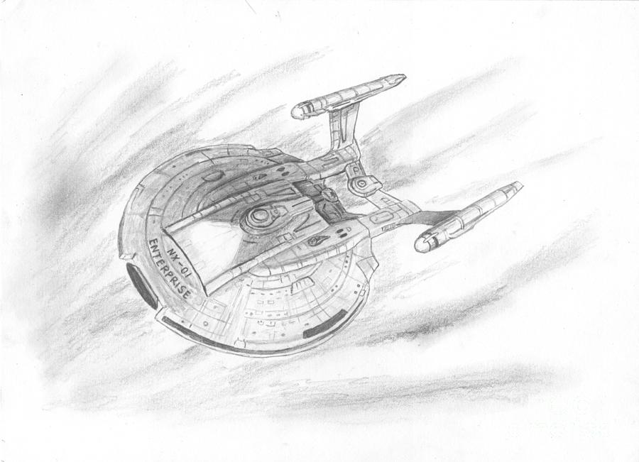 Space Drawing - Nx-01 Enterprise by Michael Penny