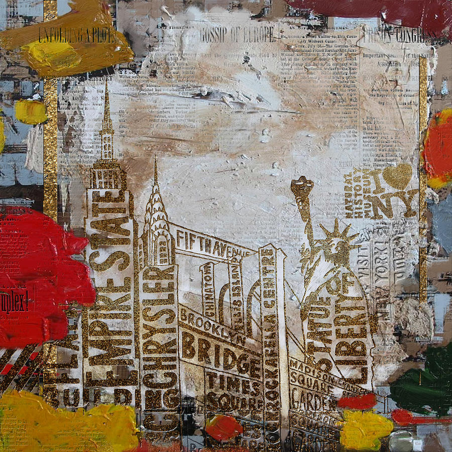Ny City Collage 7 Painting By Corporate Art Task Force