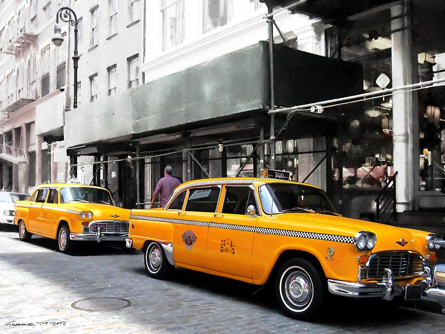 Arte Urbano Digital Art - Ny Streets - Yellow Cabs 1 by Gabriel T Toro