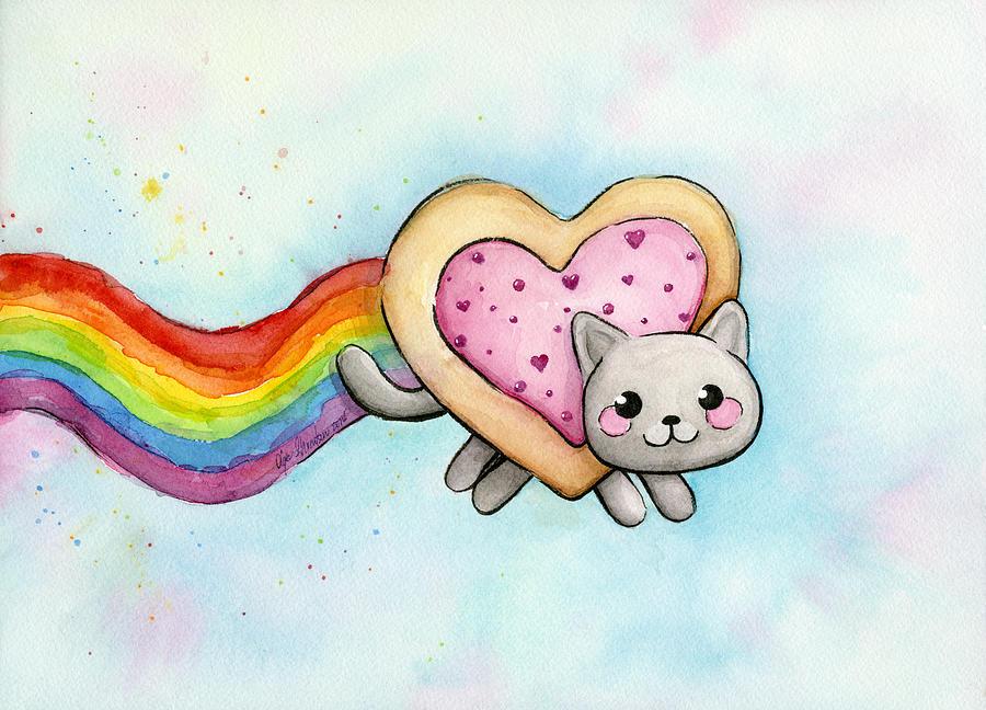 Nyan Cat Valentine Heart Painting By Olga Shvartsur