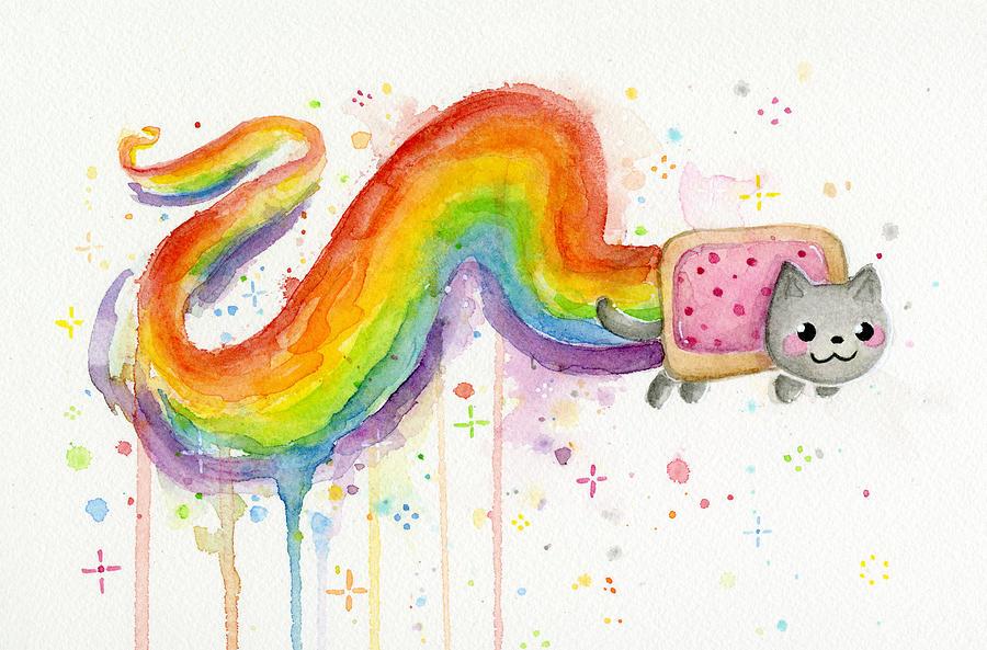 Nyan Painting - Nyan Cat Watercolor by Olga Shvartsur