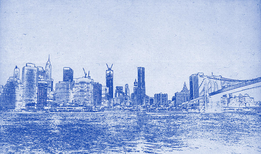 Nyc blueprint painting by celestial images chicago skyline painting nyc blueprint by celestial images malvernweather Image collections