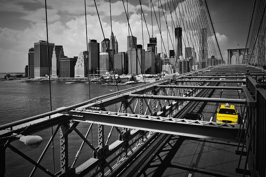 America Photograph - Nyc Brooklyn Bridge View by Melanie Viola