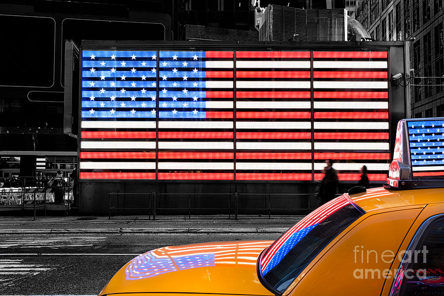 New York Cab Photograph - Nyc Cab Yellow Times Square by John Farnan