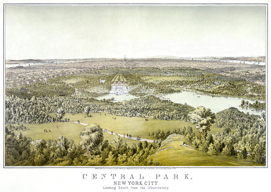 1859 Painting - Nyc Central Park, C1859 by Granger