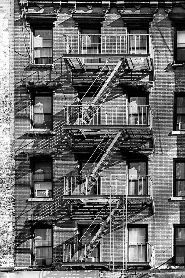 Incroyable Fire Escape Photograph   Nyc Fire Escape   Stairs And Shadows In Black And  White By