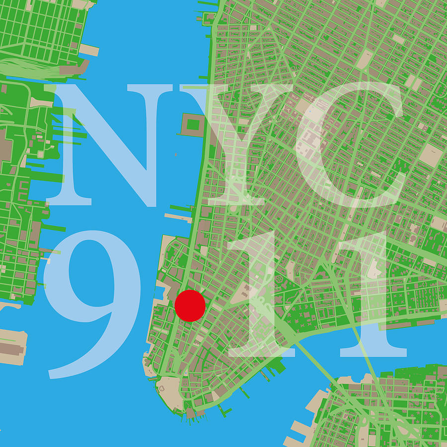 Nyc Map Twin Towers  Digital Art By Big City Artwork - Nyc map to print