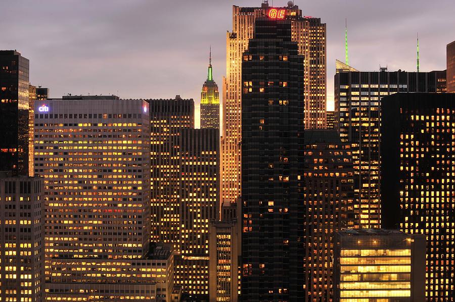 Nyc Photograph - Nyc Midtown Golden Lights by Joseph Hedaya