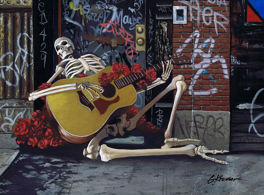 Grateful Dead Painting - Nyc Skeleton Player by Gary Kroman
