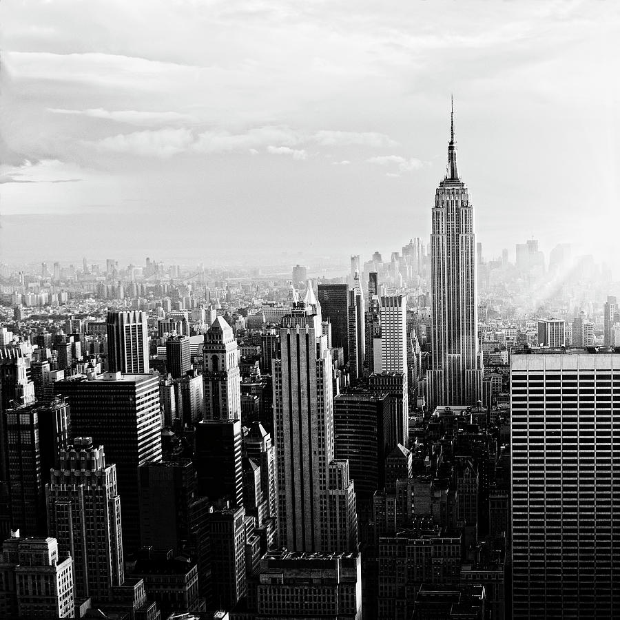 Nyc Skyline.black And White Photograph by Lisa-blue