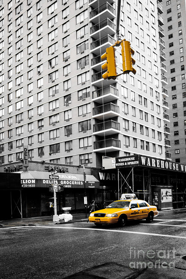 Fast Photograph - Nyc  Yellow Cab At The Crossroad by Hannes Cmarits