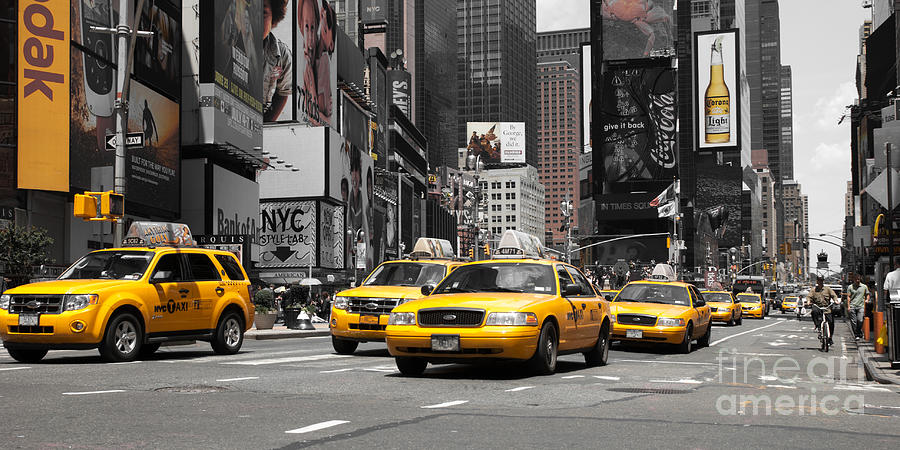 Manhatten Photograph - Nyc Yellow Cabs - Ck by Hannes Cmarits