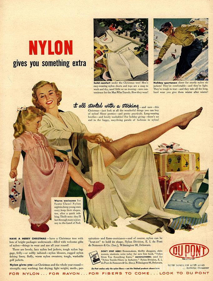 Nylon By Dupont 1940s Usa Nylons Drawing By The
