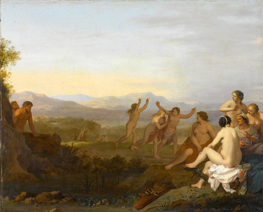 Nymphs Spied On By Satyrs Painting by Cornelis van Poelenburgh