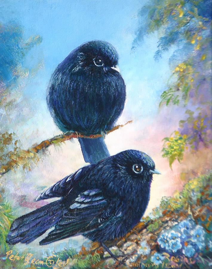 Birds Painting - Nz Black Robins by Peter Jean Caley