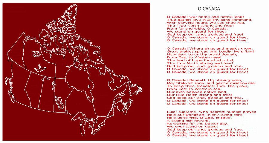 O Canada Digital Art - O Canada Lyrics and Map by Barbara Griffin