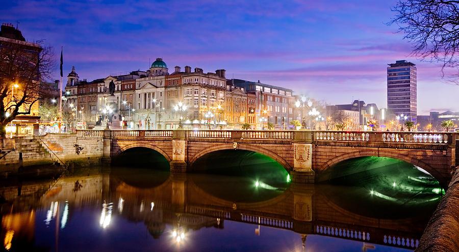 O Connell Bridge At Night - Dublin Photograph