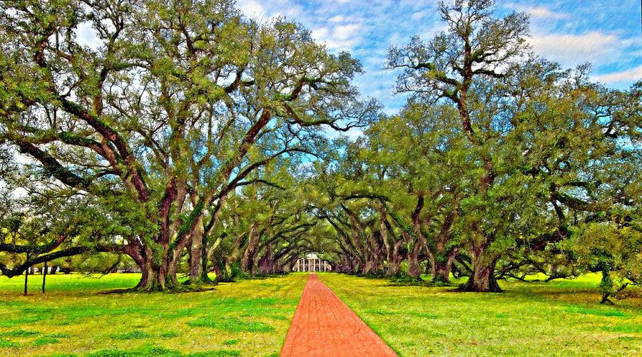 Oak Alley Plantation Photograph - Oak Alley 3 Oil by Steve Harrington