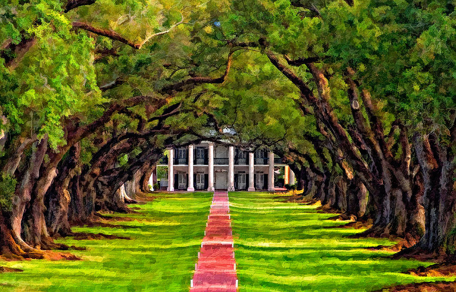 Oak Alley Plantation Photograph - Oak Alley Paint Version by Steve Harrington