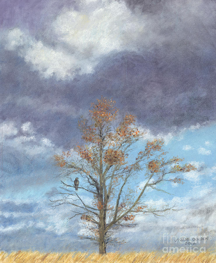 Landscape Painting - Oak And Clouds by Jymme Golden