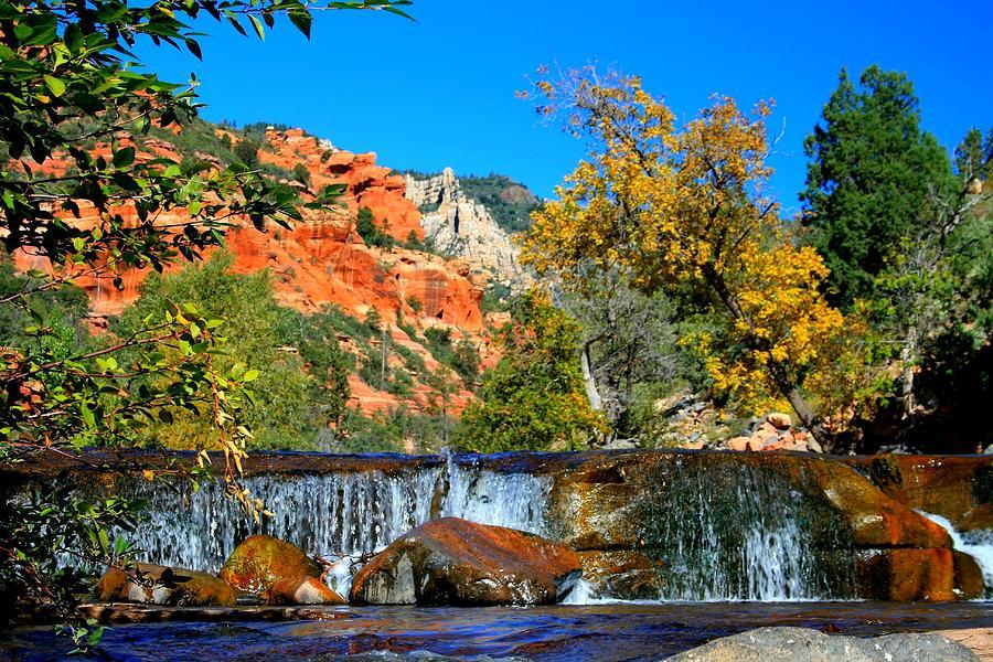 Arizona Photograph - Oak Creek Cascade by Miles Stites