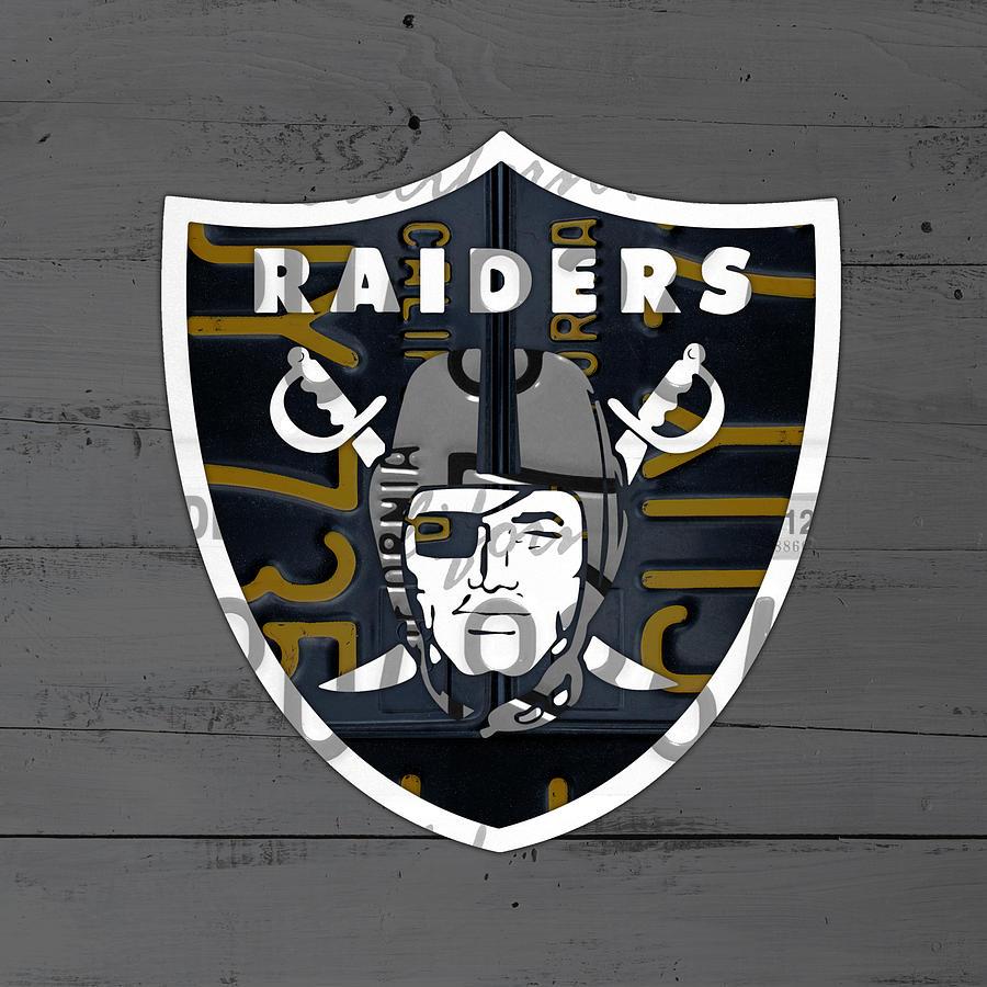Oakland raiders football team retro logo california license plate oakland mixed media oakland raiders football team retro logo california license plate art by design buycottarizona