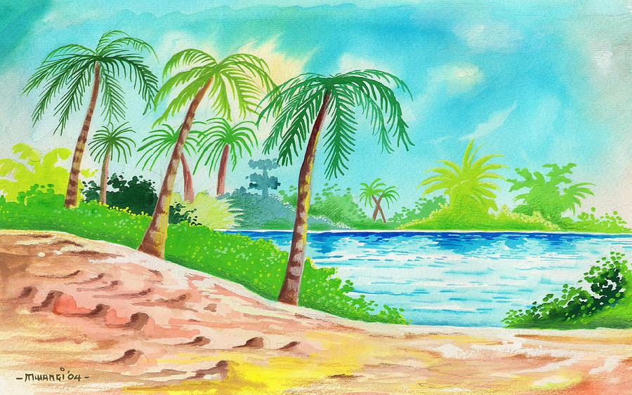 Palms Painting - Oasis by Anthony Mwangi