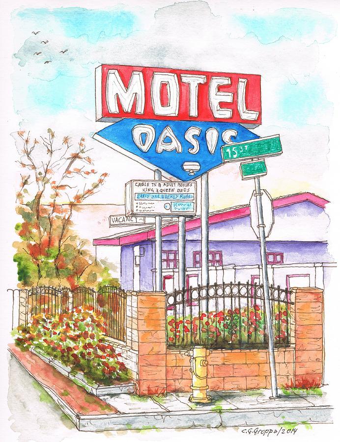 Route 66 Painting - Oasis Motel In Route 66, San Bernardino, California by Carlos G Groppa