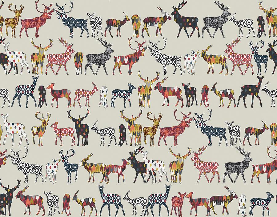 Deer Drawing - Oatmeal Spice Deer by MGL Meiklejohn Graphics Licensing