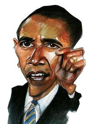 Obama Painting - Obama Caricature by Gregory DeGroat