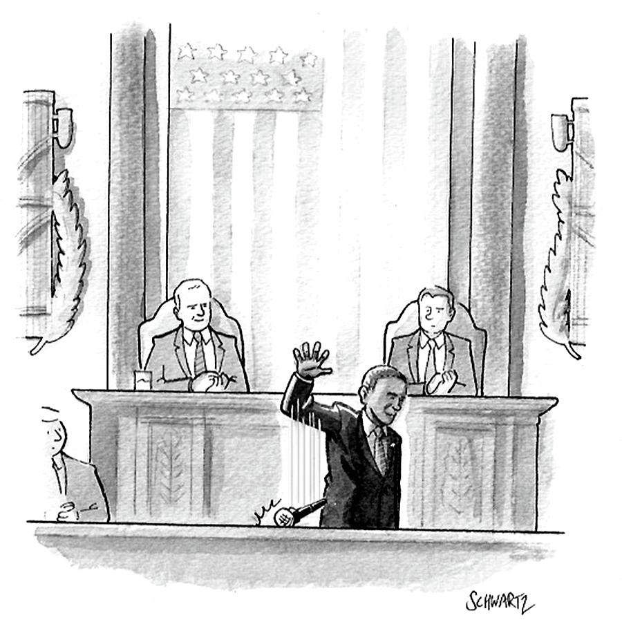Cartoon Drawing - Obama Dropping A Mic by Benjamin Schwartz