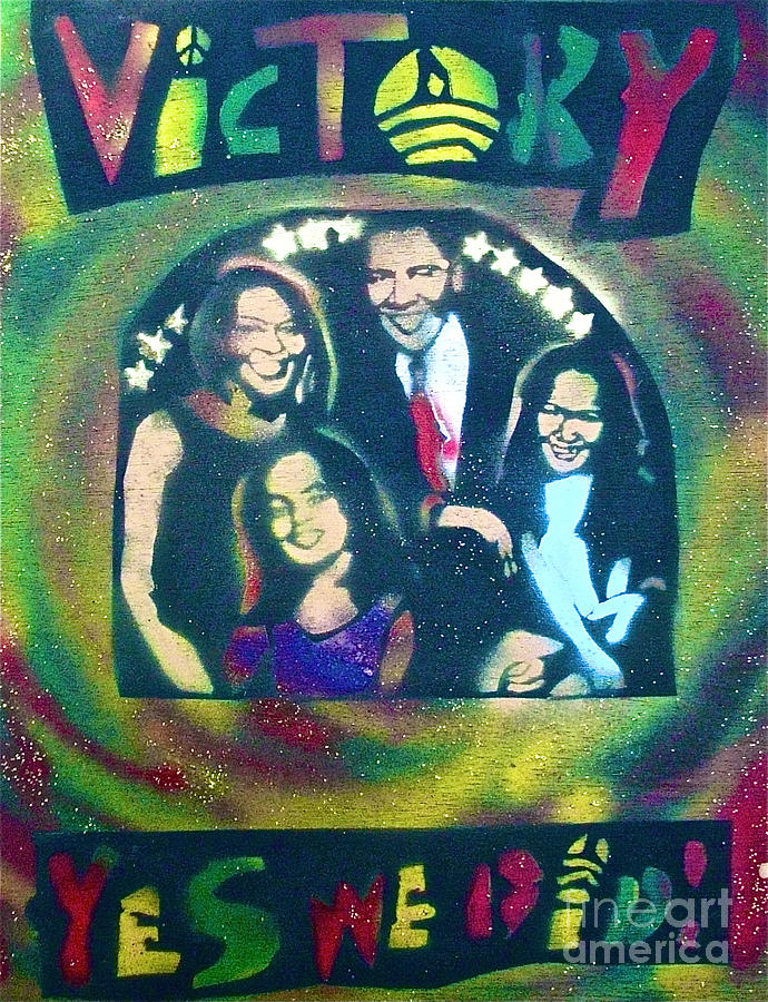 Barack Obama Painting - Obama Family Victory by Tony B Conscious