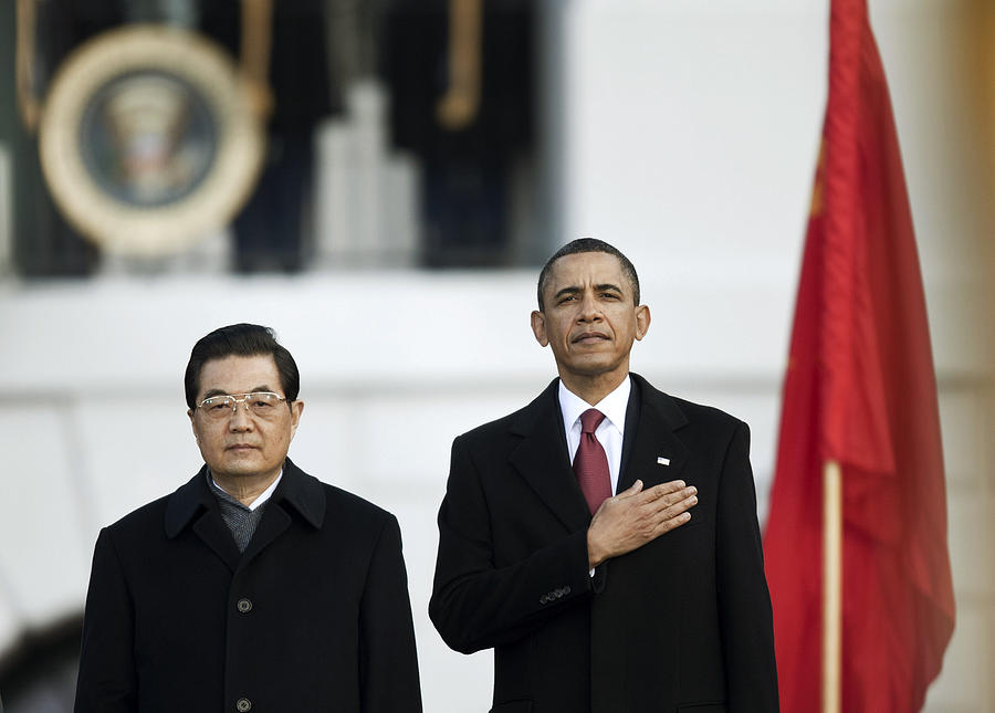 Obama Hosts Chinese President Hu Jintao For State Visit At White House Photograph by Brendan Smialowski